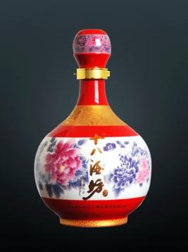 粉彩牡丹3斤坛