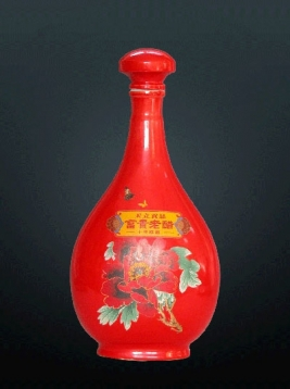 粉彩牡丹醋瓶