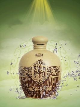 山庄擦釉陶瓶