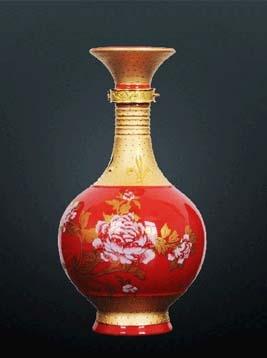 描金牡丹瓶